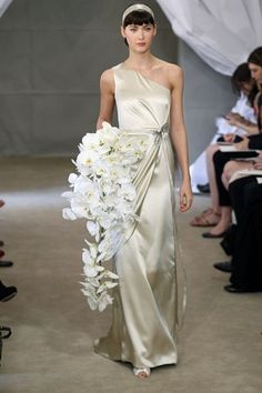 How would your (future) bride look in this gown? Spring 2013 bridal gowns Carolina Herrera wedding dress one shoulder silver muted gold Wedding Dress 2013, Elegant Wedding Dress, White Wedding Dresses, Wedding Dress Styles, Bridesmaid Dresses, Bridal Gowns, Wedding Gowns, Bridal Bouquets, 1920s Wedding