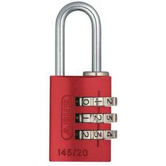 Abus 145/20 Red Combination Padlock,Side,Red G1620814, Multicolor