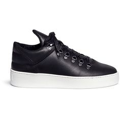 Filling Pieces 'Mountain Cut' waxed leather sneakers ($245) ❤ liked on Polyvore featuring shoes, sneakers, black, black leather trainers, black shoes, filling pieces sneakers, handcrafted leather shoes and real leather shoes