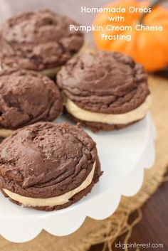 Oreo Cookies with Spiced Pumpkin Cream Cheese Frosting on MyRecipeMagic.com