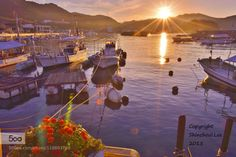 Light dance..Sunrise by leeshinchoul  Harbor Port town beautiful blue boats clouds landscapes light dance mountains natural natural light