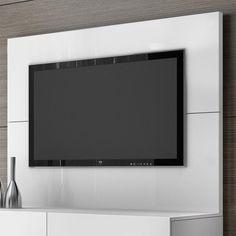 Cômoda com painel Sleep Comber Branco Cinza detalhe painel de tv