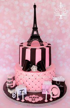 Parisian theme cake #pariscake #eiffeltower #pinkandblack #paris