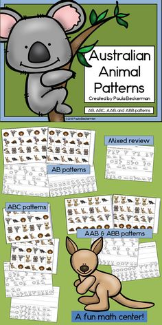 Kangaroos, koalas, emus, echidnas and more fantastic Australian animals are used to make patterns in this fun math activity. There are even printables to follow up! TpT $