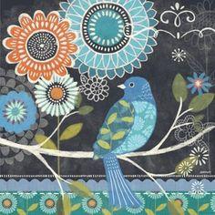 Chalk Bird Blue by Jennifer Brinley   Ruth Levison Design