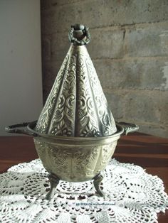 Antique Footed Bowl - Cone Lid - Signed Middle East photo