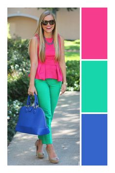 Looks Color Block Colour Combinations Fashion, Color Combinations For Clothes, Color Blocking Outfits, Fashion Colours, Colorful Fashion, Office Fashion Women, Fashion 2020, Look Fashion, Women's Fashion Dresses