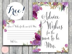free purple floral advice and wishes printable free bridal shower
