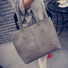 038871baaa36  Visit to Buy  Women Scrub Leather Handbag Black Grey Causal Tote Bag Large  Capacity Shoulder bag Shopping Luxury Handbags Women Bags Designer