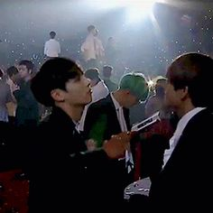 They are so dorky that it hurts my hearteu *^* is this exo in the backround? XD || #BTS #V and #Jungkook