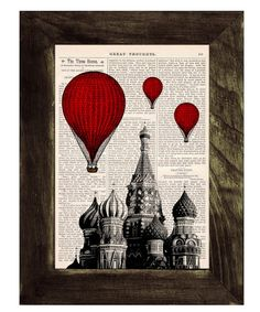 Vintage Book Print - Moscow Saint Basils Balloon Ride Print on Vintage Book art $8