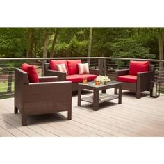 Hampton Bay Beverly 4-Piece Patio Deep Seating Set with Dragon Fruit Cushions-65-910233 at The Home Depot