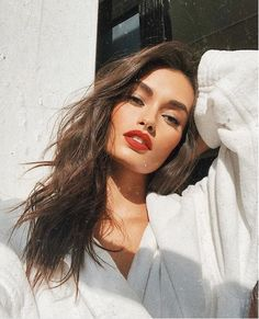 classic red lip and relaxed hair