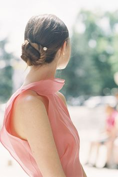 Pretty idea: Secure a bun with faux-pearl bobby pins.