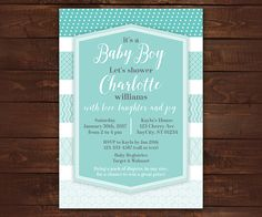 Blue Ombre Invitation, Baby Boy Invitation, Digital Invitation, Blue Patterns, Printable Baby Shower or Birthday Invitation -- Any Color by LittleBeesGraphics on Etsy https://www.etsy.com/listing/259305067/blue-ombre-invitation-baby-boy