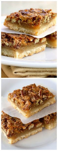 Pecan Pie Bars - A melt in your mouth shortbread crust with a pecan pie topping. This tastes just like the pie.