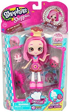 Chef Club Shoppies Donatina Doll, Includes 2 Shopkins, a VIP Card, a Brush, and a Stand By Shopkins Ship from US Shopkins Chef Club, Shopkins Game, Shopkins Season, Shoppies Dolls, Shopkins And Shoppies, Toys For Girls, Kids Toys, Chef Shop, Craft Fair Displays