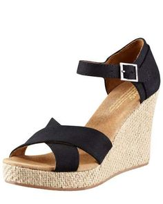 TOMS Canvas Wedge Sandal. #toms #shoes #wedges