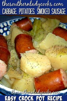 Slow Cooker Cabbage Potatoes and Smoked Sausage Comfort Food Slow Cooker Stuff Crockpot Dishes, Crock Pot Slow Cooker, Crock Pot Cooking, Slow Cooker Recipes, Cooking Recipes, Crockpot Sausage And Potatoes, Crockpot Cabbage Recipes, Cabbage Slow Cooker, Sausage Cabbage And Potatoes Recipe