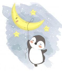 Cute Baby Penguin Illustration For Nursery Art PNG and Vector Pinguin Illustration, Giraffe Illustration, Illustration Blume, Cute Illustration, Cute Baby Penguin, Cute Baby Elephant, Baby Koala, Cute Penguins, Baby Baby