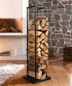 Creative Interior Design with Wood, 25 Firewood Storage Solutions : modern interior design and firewood storage ideas Indoor Firewood Rack, Firewood Stand, Log Store Indoor, Indoor Log Storage, Wood Storage Rack, Smart Storage, Fireplace Logs, Wood Holder For Fireplace, Wood Logo