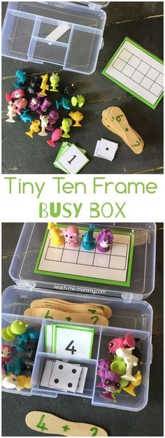 Tiny Ten Frame Busy Box, easy to put together and fun to play and learn too! - all bags online, latest side bags, mens bags *ad Preschool Math, Math Classroom, Teaching Math, In Kindergarten, Math Games, Preschool Activities, Ten Frame Activities, Montessori, Busy Boxes