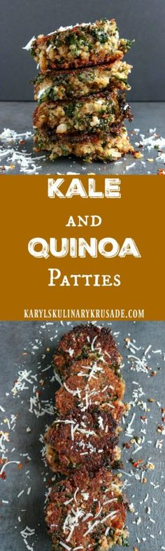 Kale and Quinoa Patties. A wnderfully flavorful combination of superfoods, these pan-fried patties are perfect for a hearty lunch that your family will love (Quinoa Recipes Patties) Side Dish Recipes, Lunch Recipes, Appetizer Recipes, Whole Food Recipes, Vegetarian Recipes, Dinner Recipes, Healthy Recipes, Kale Recipes, Appetizers