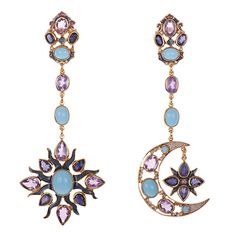 Earrings with turquoises, amethysts and iolis. By Percossi Papi, the Sun & Moon collection