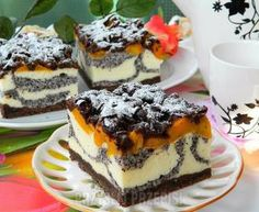 Sero-makowiec z brzoskwiniami Polish Desserts, Polish Recipes, Sweet Recipes, Cake Recipes, Dessert Recipes, Cheesecake, Homemade Cakes, Yummy Cakes, No Bake Cake