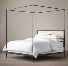 French Iron Four-Poster Bed Restoration Hardware canopy bed Iron Canopy Bed, Canopy Beds, Ikea Canopy, Hotel Canopy, Window Canopy, Beach Canopy, Canopy Curtains, Canopy Bedroom, Backyard Canopy
