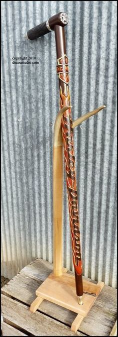 Custom Walking Cane, Carved & Painted Flames, Motorcycle Rider, Biker Theme Cane