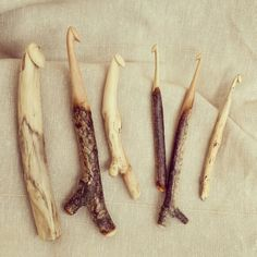 Different sizes handcarved crochet hooks from found wood made by Wieteke Opmeer. Check my etsy store :)