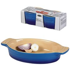 A Le Chasseur Oven To Table Set in French Blue, the perfect gift for a cooking junkie