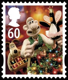 Wallace and Gromit Royal Mail Christmas stamp (with Feathers McGraw as the Treetop Angel)