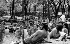 Piedmont Park was the center of hippie life in Atlanta for years. The city was tolerant of the misbehavior that sometimes cropped up. What did people do when they all met in the park on an afternoon? There was music, flirting, and in this 1972 photo, sunbathing.