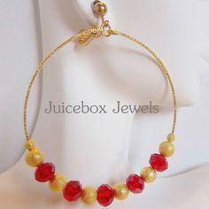 CLIP ON 3 inch Red/Gold Glass Stardust Handmade BIG Fashion Hoop Earrings V39 #Handmade #Hoop