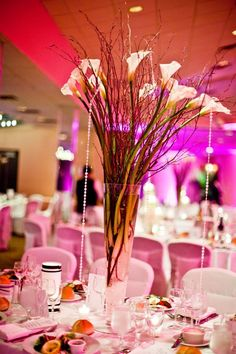 Calla lily centerpieces from Flowers By Brian.