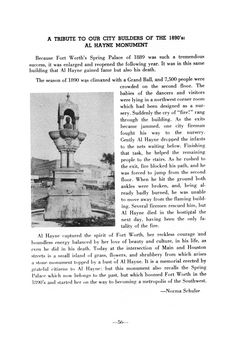 Book of historic people, places, and things in Fort Worth and Tarrant County, Texas. It includes photographs of the subjects and some line illustrations in the text.