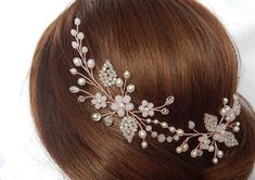 Rose gold hair piece Rose gold floral vine Gold rose hair vine Rose gold headpiece Rose gold wreath Rose hair wreath Bridal rose wreath – Hair – Hair is craft Hair Jewelry, Wedding Jewelry, Beaded Jewelry, Gold Jewelry, Cheveux Oranges, Rose Hair, Hair Beads, Motif Floral, Hair Vine