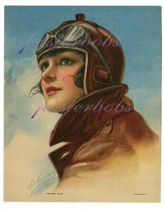 Vintage Rare Pin up Aviatrix Fine Flapper 1918 Sky Pilot Beauty Emma Musselman Poster Print, Retro Poster, Pinup Art, Steampunk, Vintage Prints, Vintage Posters, Vintage Artwork, Vintage Illustrations, Rolf Armstrong