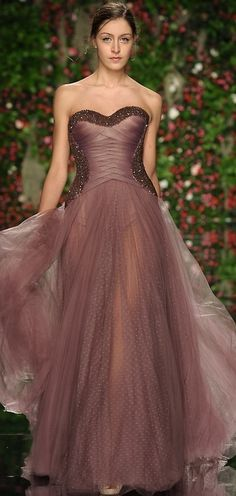 Abed Mahfouz, Spring 2011 Couture strapless woven bodice with dotted Swiss chiffon gown in plum