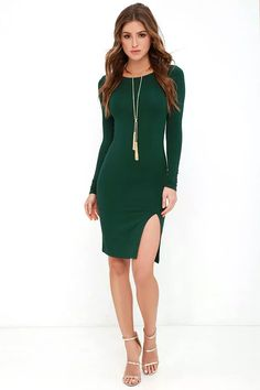 Curious to know what fabulous feels like? You will know as soon as you have the How I Wonder Dark Green Long Sleeve Midi Dress! Lightweight jersey knit is soft and stretchy across a bateau neckline and fitted, long sleeve bodice. Bodycon silhouette continues into the midi skirt, finished with a sexy side slit.