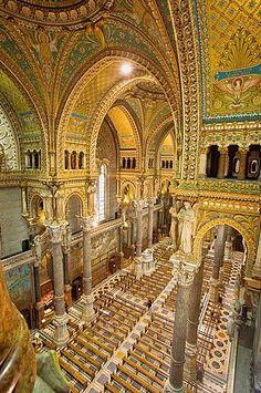 Basilica of Notre-Dame de Fourviere, Lyon, Rhone-Alpes, France