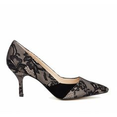 Pointed toe kitten heel pump in genuine materials with mixed media detail.
