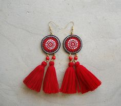 Large Round Hmong Embroidery Tassel Earrings by SiamHillTribes