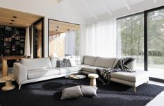 Image 6 of 32 from gallery of Family House Neveklov / ATELIER KUNC architects. Photograph by Jan Vrabec Sofa Design, Cabin Design, Furniture Design, House Design, Modern Wooden House, Modern Barn House, Best Wood For Furniture, Contemporary Furniture, Journal Du Design