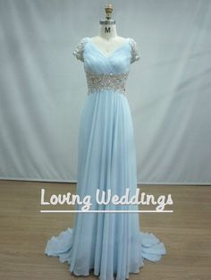 Blue short sleeves bridesmaid dress wedding party dress long blue prom/party dress floor length homecoming/evening/quinceanera dress on Etsy, $120.00