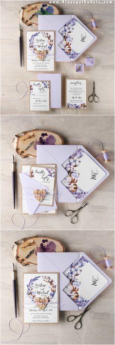 Lavender and cotton #weddinginvitation #4lovepolkadots #lavenderwedding #lavender #cotton #weddingideas #weddingstationery #invitations #pastelwedding