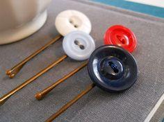 button bobby pins - nautical / patriotic color scheme
