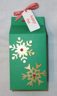 Christmas gift boxes - made using milk carton die for sizzix big shot pro Mini Milk, Milk Box, Christmas Gift Box, Christmas Wrapping, Sizzix Big Shot Pro, Scrapbook Cards, Scrapbooking, Little Boxes, Gift Wrapping